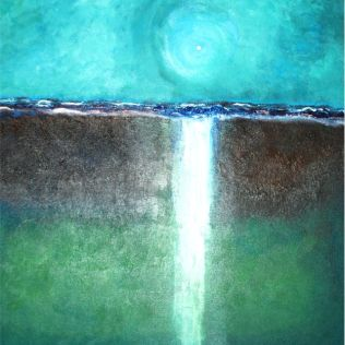 """Cascading"", Jola Liebzeit, mixed media on board, 18""x18""- sold (private collection of KM)"