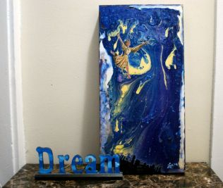 """""""Dream Dancer"""", Jola Liebzeit, acrylic and ink on board, 10""""x20"""" - sold (private collection of CM)"""
