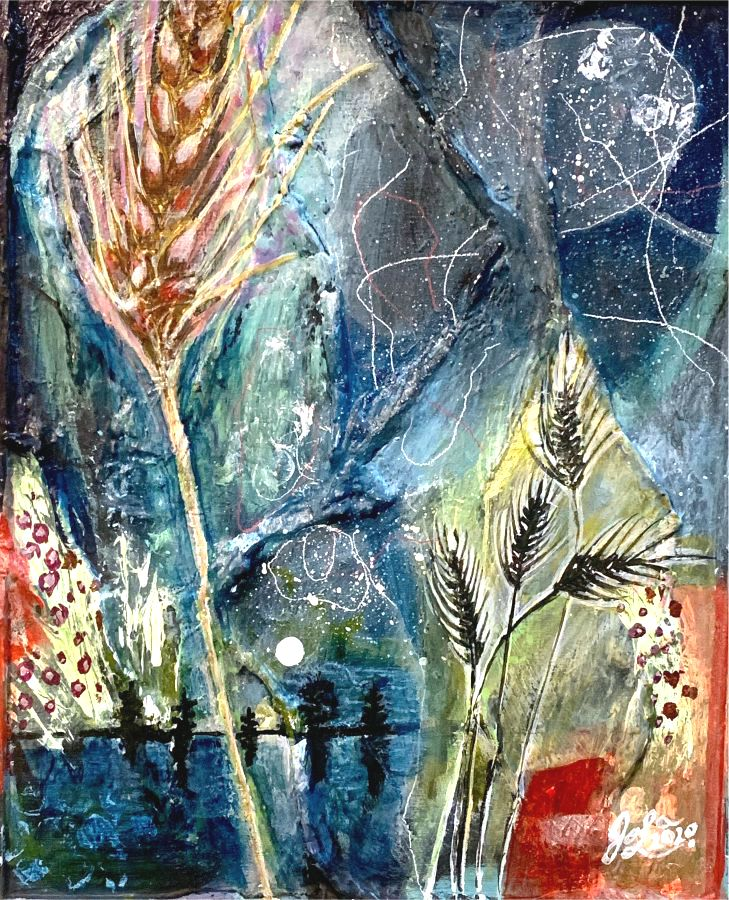 Prairie Schooners -Jola Liebzeit-8x10-mixedmedia on board-Life Finds Its Way-1